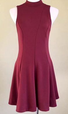 13b8ab91421df My Free People Garnet Red Sleeveless Fit and Flare Skater Mini Dress Size M  by Free