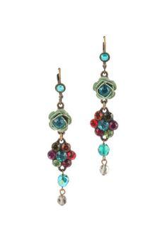 MICHAL-NEGRIN-Bronze-Tone-Multi-Color-Crystal-Flower-Dangle-Earrings