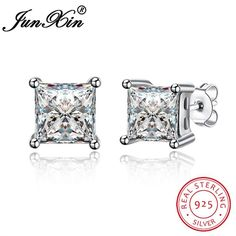 JUNXIN Female Square Stud Earring 100% Real 925 Sterling Silver Earrings For Women Fashion Double Earrings High Quality Jewelry