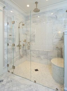 Genial Monticello Replica House In Somers Connecticut. Master Shower Features A  Level Entry Shower System By VIM Products