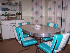 mid century dinette set - style: atomic - turquoise blue