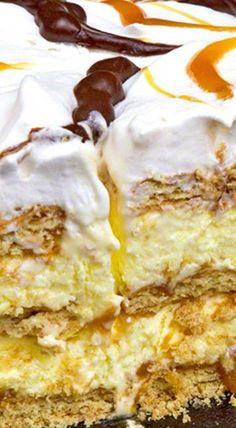 Caramel Eclair Dessert - The Midnight Baker Köstliche Desserts, Delicious Desserts, Yummy Food, Baking Recipes, Cake Recipes, Dessert Recipes, Eclairs, Caramel Recipes, Brownie