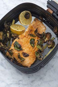 Air Fryer Salmon | Weelicious Lemon Asparagus, Asparagus Fries, Cooks Air Fryer, Crispy Smashed Potatoes, Cooking Salmon, Air Fryer Recipes, Salmon Recipes, Eat, Ethnic Recipes
