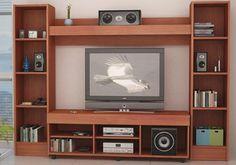 Muebles de melamina y madera plano de mueble para tv ,audio y vídeo | Web del Bricolaje Diseño Diy Tv Unit Interior Design, Tv Wall Design, Web Design, House Design, Interior Ideas, Tv Unit Decor, Tv Wall Decor, Tv Cupboard Design, Tv Stand And Panel