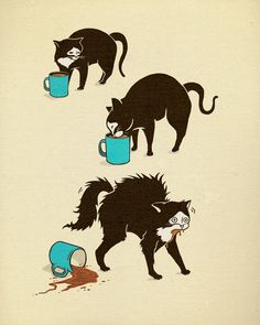 """Coffee Cat"" Art Print by Boots on Society6."