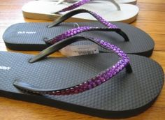 DIY Rhinestone Flip Flops. So cheap and easy...not to mention super cute!