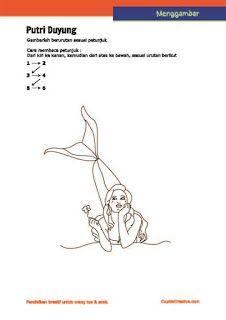 lembar aktivitas langkah/petunjuk menggambar putri duyung untuk anak SD