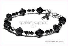Awareness Bracelet - Melanoma Skin Cancer - Swarovski Bicone Crystal Jet Black