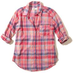 Hollister Plaid Cotton Shirt (£16) ❤ liked on Polyvore featuring tops, pink plaid, red plaid top, cotton shirts, pink top, shirt top and plaid top