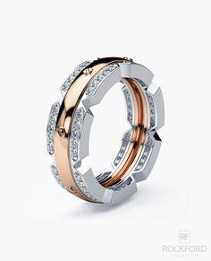 CRISSON Mens Two-Tone Gold Wedding Band with 0.70 ct Diamonds. Свадебные  Ювелирные Украшения, Золотые Украшения, Ювелирные Кольца ... f889ac568a3