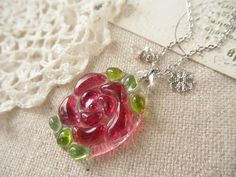 Fused Glass Necklace Rose PinkCzech glass by clovernglass on Etsy, $20.50