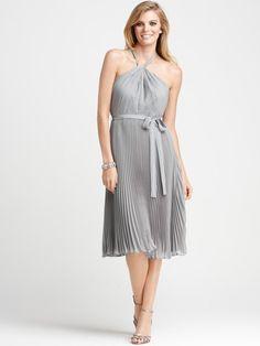 Allure Pleated Tea-length Dress with Halter Neckline. Love it!
