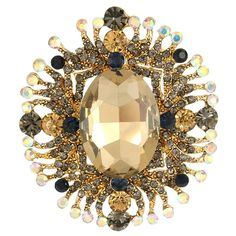 EVER FAITH® Austrian Crystal Gorgeous Oval-Shape Floral Pendant Brooch Gold-Tone Sand Color N05910-6 -- Be sure to check out this helpful article. #BroochesandPins