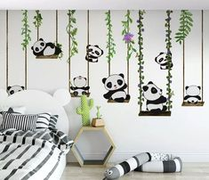 Simple Wall Paintings, Creative Wall Painting, Wall Painting Decor, Wall Art, Kids Wall Murals, Nursery Wall Murals, Baby Room Themes, Baby Room Decor, Panda Nursery