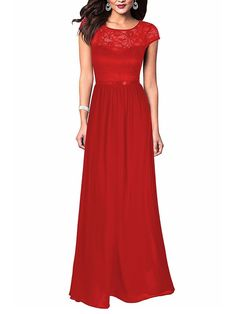 Round Neck Hollow Out Plain Chiffon Evening Dress