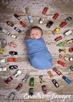 Newborn Boy Portrait with Dad's Matchbox Cars, Newborn Photography, Creative Images Photography, Meridian, MS