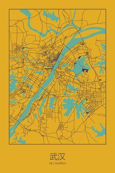 Wuhan, China Map Print