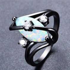 """Black Gold Ring Opal Fire Ring - Click """"Add To Cart"""" to get this awesome ring today! Black Gold Jewelry, Gold Filled Jewelry, Black Rings, Black Opal Ring, Gold Rings, Opal Wedding Rings, Opal Rings, Wedding Band, Wedding Jewelry"""