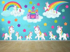 Wall Decals for Kids Bedroom -Pony Wall Decal - Rainbows and Unicorns- Girls Room Wall Decals - Girls Room Decor
