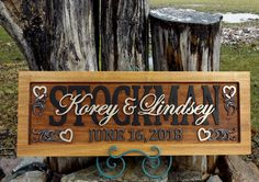 Wedding Anniversary Plaque  carved wood   painted lettering