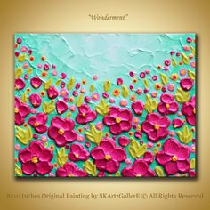 Original painting Pink floral art Textured 3d art, Impasto flowers painting, Pink wall art, Modern pink girls decor, childrens room decor, Small canvas art, Pink flowers painting by SKArtzGallerE