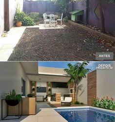 Olha que legal essa proposta para área externa integrada com área lazer. Small Backyard Pools, Backyard Pool Designs, Swimming Pools Backyard, Patio Design, Backyard Landscaping, Best Exterior Paint, Exterior Paint Colors For House, Diy Exterior, House Paint Color Combination