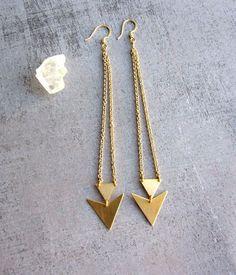 Triangle dangle gold brass long earrings, geometric jewelry, arrow, chevron,