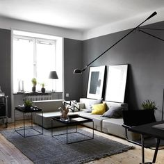 my scandinavian home: Dramatic dark greys in a Swedish apartment (spot the legs! Home, Living Room Colors, Living Room Modern, Scandinavian Home, My Scandinavian Home, House Interior, Monochromatic Decor, Interior Design, Home And Living