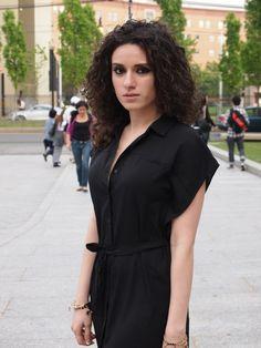the black shirtdress