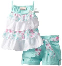 Little Lass Girls 2 Piece Short Set With Ruffles And Flowers, Aqua, - :) Cute Little Girls Outfits, Kids Outfits Girls, Little Girl Fashion, Kids Fashion, Baby Dress Design, Baby Girl Dress Patterns, Kids Dress Wear, Dresses Kids Girl, Baby Kids Clothes