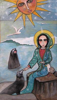 SOLD: Seals Speak to Mary / pigmented wood panel (retablo) by Virginia Maria Romero