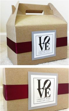 Out of town boxes for Philadelphia wedding guests using Gable Boxes