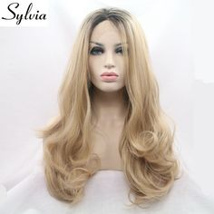 sylvia blonde long body wave synthetic lace front wigs with brown roots glueless mixed blonde ombre wavy heat resistant hair