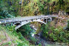 Historic Narrow Bridge on the Famous Road to Hana, Maui in Hawaii photo picture fine art metal print Outrigger Canoe, Road To Hana, Bright Background, Thing 1, Maui Hawaii, Three Dimensional, Road Rage, Fine Art, Bridges