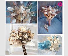 Ramo de novia hecho con conchas del mar