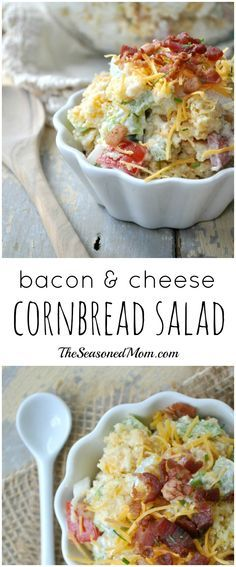 Bacon, cheese, and cornbread come together in a delicious, easy, make-ahead side salad that is perfect for your next potluck or cookout!