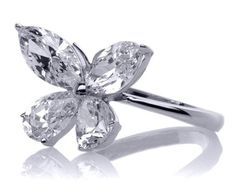 European Engagement Ring - Mixed Cut Butterfly Diamond Ring 1 carat total weight in White Gold - ER227