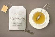 tea bag bridal shower invitation