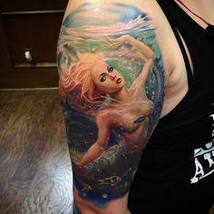 Finish this mermaid tattoo, done with  @eternalink @h2oceanproteam @totaltattool @waterloo @revolutionneedles @eikondevice @sullenclothing @sullentv @inkjecta @cheyennehawk @darkagetattoostudio #remberorellana #rember @stencillstuf