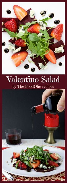 Valentino Salad is a perfect starter for a romantic dinner, it's a light earthy salad with roasted beets, strawberries, roquefort, sunflower seeds and arugula topped with an aged balsamic vinegar. #valentinesday #salad #beet #roquefort