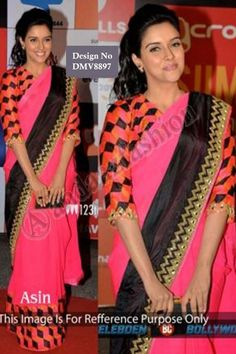Asin Pink With Black Chiffon Saree With Blouse Price: $98.44   Pink with Black, chiffon saree with multi color, blouse.  Embellished with embroidered.  Saree comes with v neck blouse.  Product are available in 34,36,38,40 sizes. It is perfect for casual wear, festival wear, wedding wear and party wear.  Blouse fabric : raw Silk Designer Border Mirror work  http://www.andaazfashion.com/womens/sarees/asin-pink-with-black-chiffon-saree-with-blouse-dmv8897.html