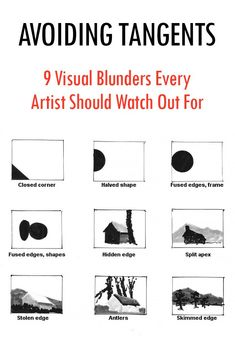 Avoiding tangents, 9 visual blunders every artist should watch out for with composition Composition Painting, Composition Design, Composition Examples, Composition Techniques, Painting Lessons, Art Lessons, Painting Tips, Art Basics, Design Theory
