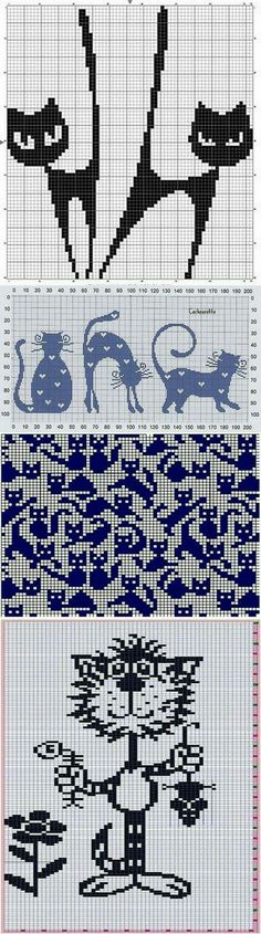 Best Ideas For Crochet Cat Pattern Animals Knitting Charts, Knitting Stitches, Knitting Patterns, Knitting Ideas, Cross Stitch Charts, Cross Stitch Designs, Cross Stitch Patterns, Cross Stitching, Embroidery Stitches