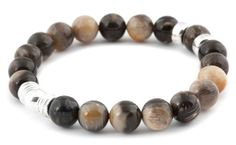 [BRACELET BE ELEGANT BOISÉ / WOODEN BE ELEGANT BRACELET] Bracelet pour hommes en agate 10mm et argent 925. | Bracelet for men in 10mm agate and sterling silver.