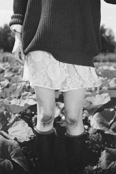 Lace dress, oversized sweater, socks, rain boots