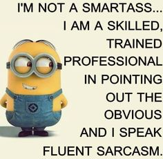 I'm not a smartass...I am a skilled, trained professional in pointing out the obvious and I speak fluent sarcasm. - minion