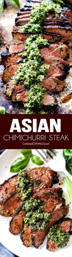 Grilled Asian Steak with Cilantro Basil Chimichurri - this marinade is hands down the best steak marinade I have ever tried - SO flavorful for a crazy juicy, tender, amazing steak!(Recipes To Try) Grilling Recipes, Meat Recipes, Asian Recipes, Dinner Recipes, Cooking Recipes, Healthy Recipes, Game Recipes, Recipies, Best Chinese Recipes