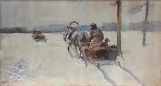 Julian Fałat - Hiver, aquarelle sur carton Art Academy, Impressionist, Watercolor, Fine Art, Poland, Artwork, Paintings, Google, Winter Time
