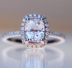 Peach Champagne Sapphire Engagement Ring 14k Rose by EidelPrecious