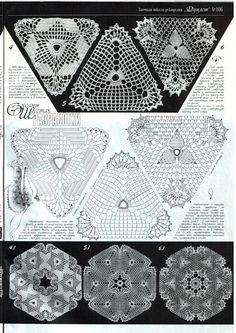 Duplet 103 - marlene ladner - Álbuns da web do Picasa Crochet Triangle Pattern, Crochet Diagram, Crochet Chart, Crochet Squares, Crochet Granny, Filet Crochet, Crochet Motif, Crochet Patterns, Granny Squares